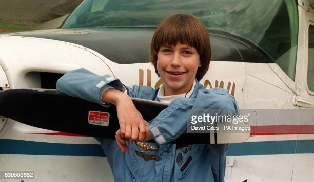 Twelve-year-ol Vicki Van Meter who became the youngest female pilot ever to fly the Atlantic, visited Biggin Hill in Kent en route for a European...