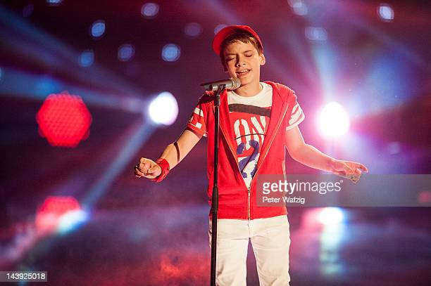 Twelveyearold Besnik performs during DSDS Kids 1st Show at Coloneum on May 05 2012 in Cologne Germany