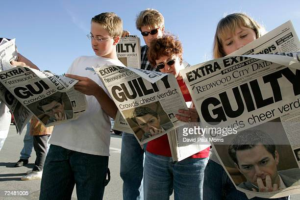 Twelveyearold Danny Lewin Geoff Shenk Katherine Lewin and 12yearold Katie Lewin read Extra edition put out by the Redwood City Daily News after the...