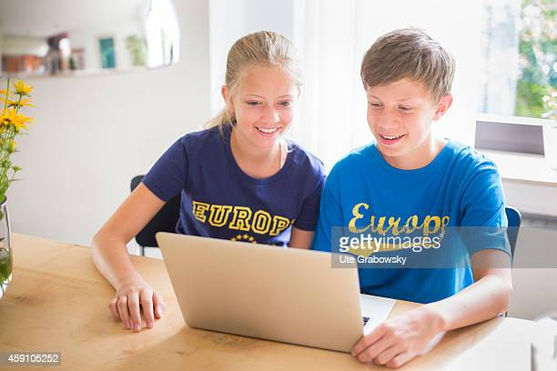Twelveyearold girl and fourteenyearold boy with a laptop on August 11 in Duelmen Germany Photo by Ute Grabowsky/Photothek via Getty Images