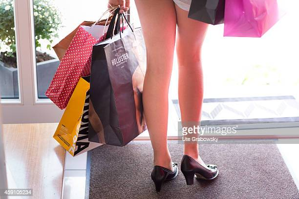 Twelveyearold girl with high heels and shopping bags on August 11 in Duelmen Germany Photo by Ute Grabowsky/Photothek via Getty Images