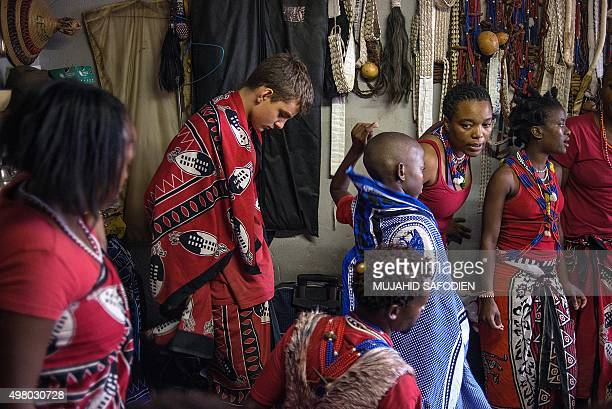 Twelveyearold South African Kyle Todd gets ready for his initiation ceremony to become a Sangoma or traditional healer at a traditional healer school...