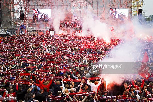 Twente Enschede's players celebrate winning the Dutch cup with 20.000 supporters in Enschede on May 16, 2011. FC Tewnte who were defeated on May 15...