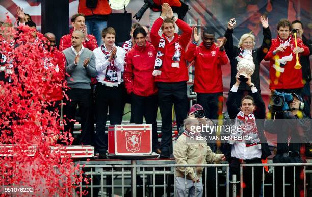 FC Twente Enschede's players celebrate winning the Dutch cup with 20000 supporters in Enschede on May 16 2011 FC Tewnte who were defeated on May 15...