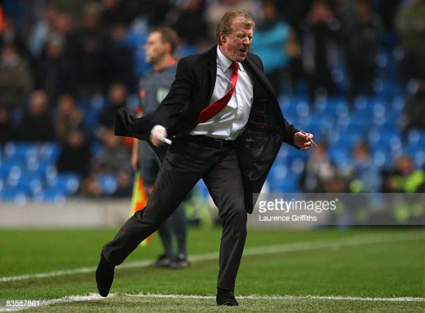 Twente Manager Steve McClaren reacts during the UEFA Cup Group A match between Manchester City and FC Twente at The City of Manchester Stadium on...