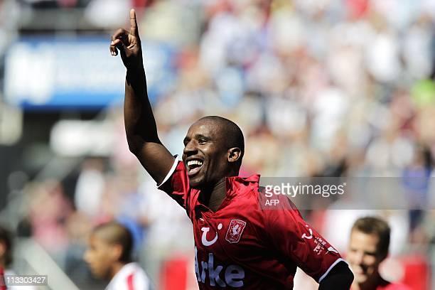 Twente's Douglas celebrates after scoring against Willem II during their Dutch Eredivisie football match against in De Grolsch Veste Stadium in...