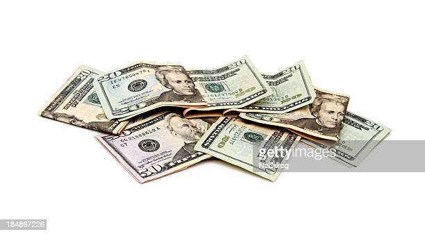 Twenty and fifty dollar bills US currency
