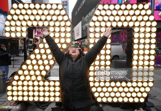 TOPSHOT Twenty days before New Years Eve two sevenfoottall numerals the second set of 2 and 0 in 2020 are unveiled on the Times Square Plaza December...