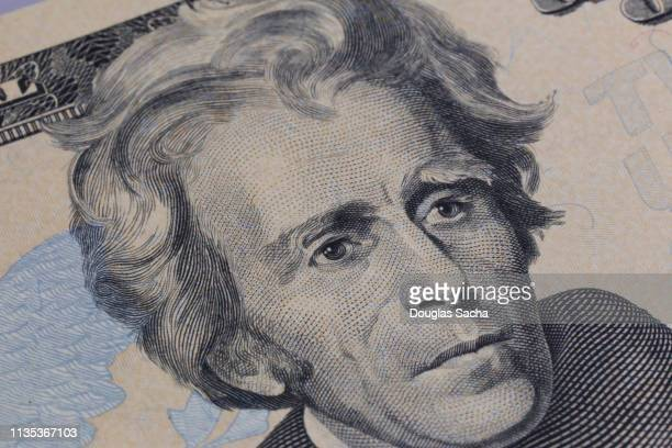 us twenty dollar bank note, close-up (focus on andrew jackson) - andrew jackson stock photos and pictures