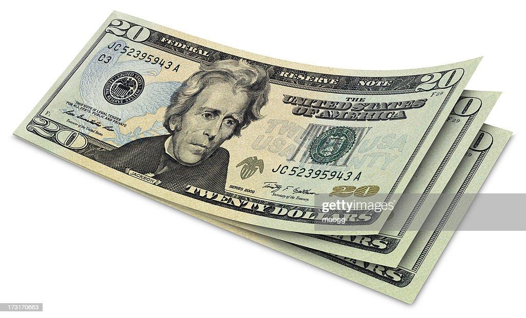 Zwanzig Dollar-Scheine : Stock-Foto