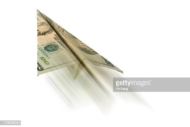 twenty dollar bill paper airplane, usa currency flying in motion - taking off activity stock pictures, royalty-free photos & images