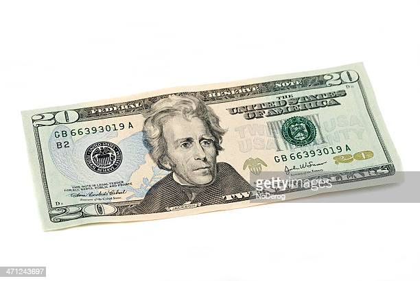 twenty dollar bill united states currency on white - number 20 stock pictures, royalty-free photos & images