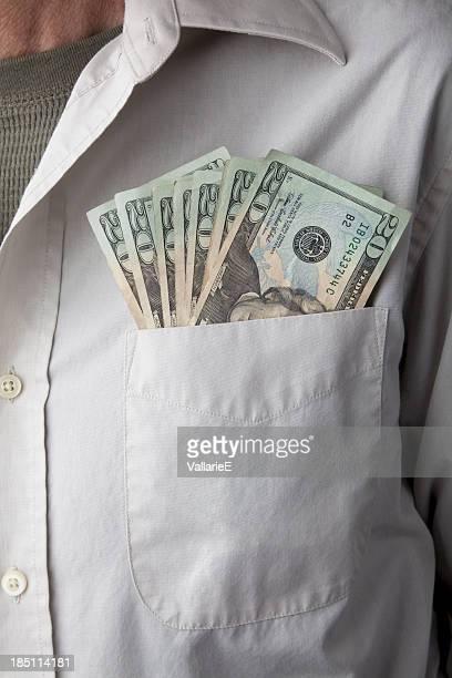 Twenty Dollar Bills in Pocket