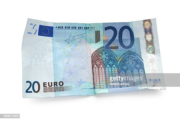twenty euro note isolated on white - twenty euro banknote stock photos and pictures