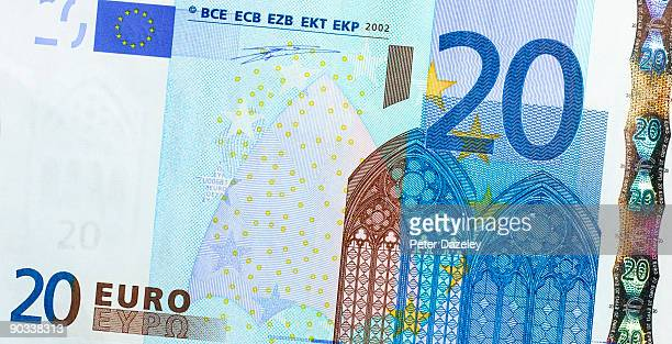 twenty euro note. - twenty euro banknote stock photos and pictures