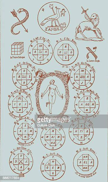 Twenty first key of the tarot surrounded by mystic and masonic seals from illustration by Eliphas Lévi published in his work The History of magic...