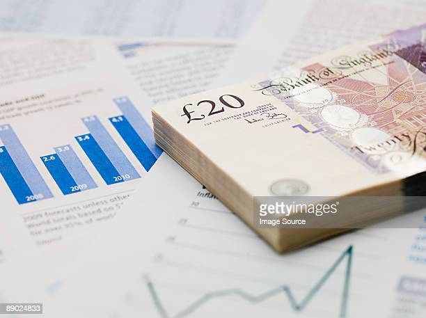 Twenty pound notes and financial papers