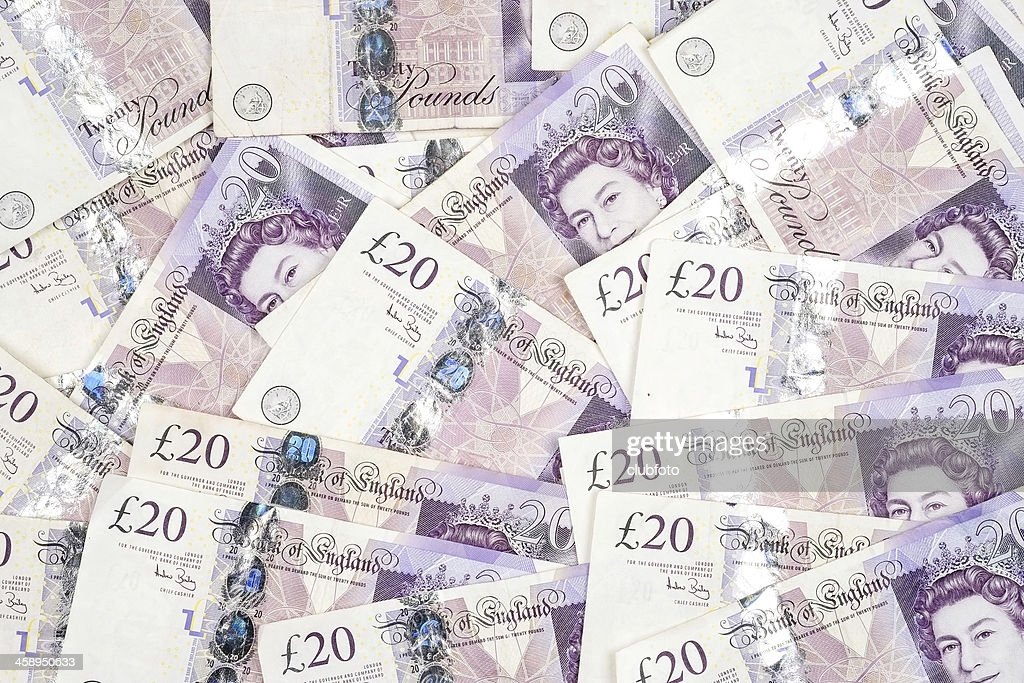 UK twenty pound notes - background : Stock Photo