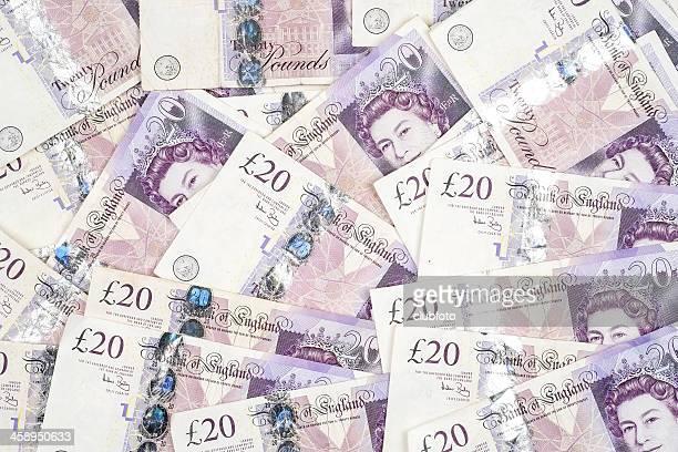 uk twenty pound notes - background - twenty pound note stock pictures, royalty-free photos & images