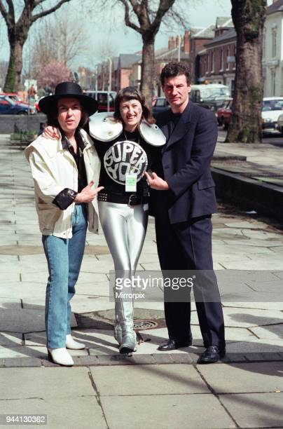 Twenty year old fan of Slade Di Daley from Manchester dresses for the part in her super yob outfit when she met Dave Hill and Don Powell at the...