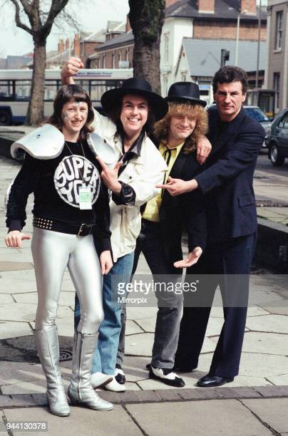 Twenty year old fan of Slade, Di Daley from Manchester dresses for the part in her super yob outfit when she met Dave Hill and Don Powell at the...