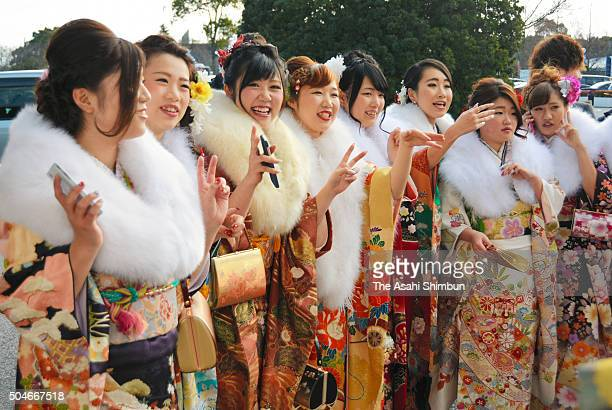 Twenty year old female people dresses in kimono attend the Coming of Age Day ceremony on January 11 2016 in Otsu Shiga Japan The Coming of Age Day is...