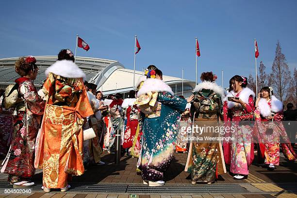 Twenty year old females dressed in Kimono attend the Coming of Age Day ceremony on January 11 2016 in Kobe Japan The Coming of Age Day is a Japanese...