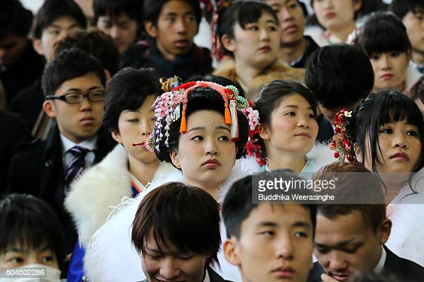 Twenty year old men and women attend the Coming of Age Day ceremony at Noevir Stadium on January 11 2016 in Kobe Japan The Coming of Age Day is a...