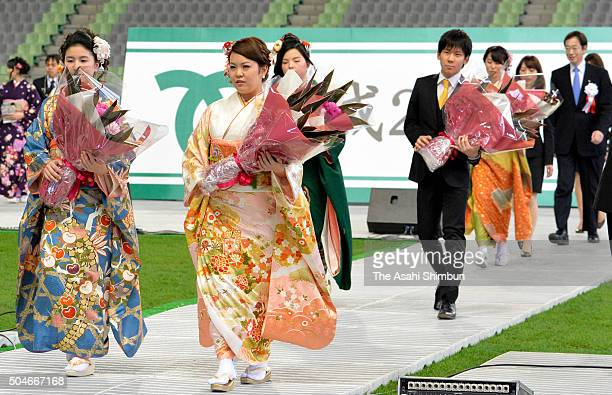 Twenty year olds attend the Coming of Age Day ceremony at Noevir Stadium Kobe on January 11 2016 in Kobe Hyogo Japan The Coming of Age Day is a...
