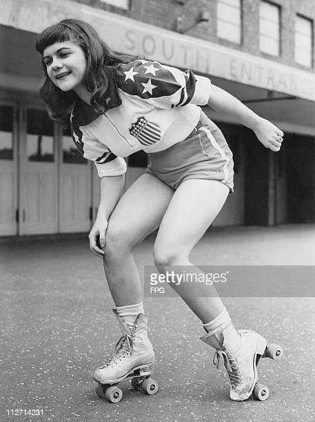 Twenty yearold American roller derby skater Joan Spangehl of the New York Chiefs outside Haringey Arena London 21st May 1953