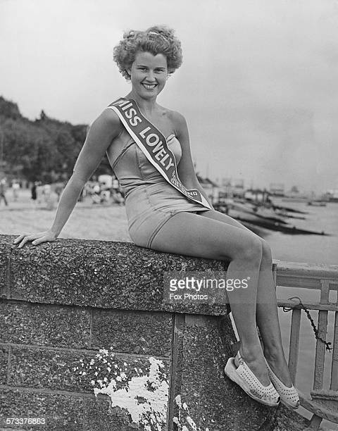 Twenty yearold Bernice Marshall who has won the title of 'Miss Lovely' of the week at Southendonsea Essex 28th July 1952 Marshall won in all three...