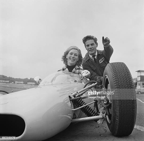 Twenty year-old novice racing driver Bronwyn Burrell of New Zealand, at the wheel of a Formula Three car at the Brands Hatch circuit in Kent, 24th...