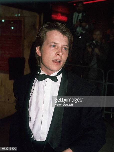 Twentyfouryearold Canadian TV and film actor Michael J Fox attends the premiere of Back to the future in which he played the role of Marty McFly in...