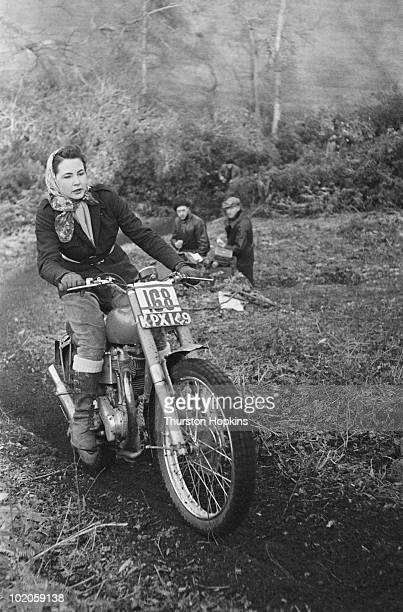 Twenty-one year old motorcycle triallist June Adams on her bike, March 1951. Original publication: Picture Post - 5218 - June The Rough Rider - pub....
