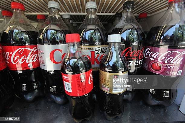 Twentyounce and larger bottles of regular and diet soda are seen for sale at a Manhattan deli on May 31 2012 in New York City New York City Mayor...