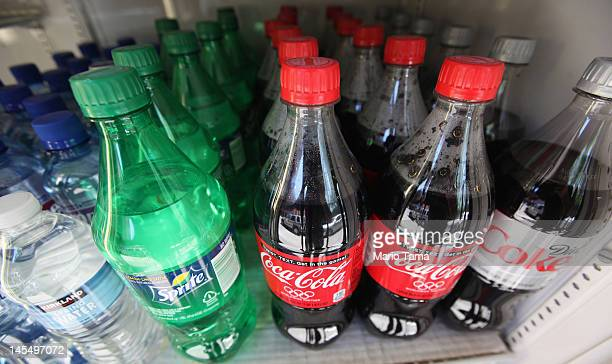 Twentyounce bottles of regular and diet soda are seen for sale at a Manhattan deli on May 31 2012 in New York City New York City Mayor Michael...