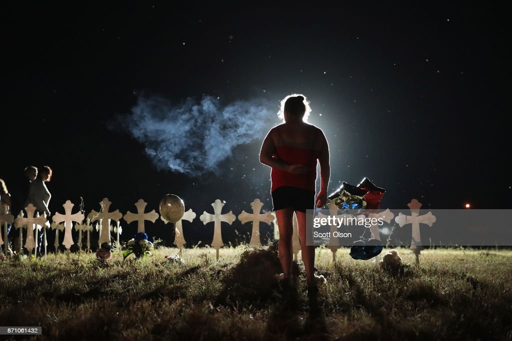 Twenty-six crosses stand in a field on the edge of town to honor the 26 victims killed at the First Baptist Church of Sutherland Springs on November 6, 2017 in Sutherland Springs, Texas. Yesterday a gunman, Devin Patrick Kelley, shot and killed the 26 people and wounded 20 others when he opened fire during a Sunday service.