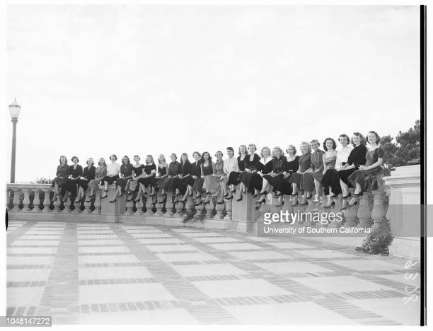 Twentysix University of California Los Angeles coeds who will vie for queen's crown 26 October 1951 Mary Joan HealyMarlyne WhitlockMarilyn...