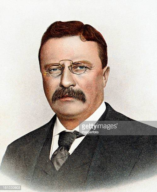 Twentysixth president of the United States Theodore Roosevelt featured on a vintage colour postcard published circa 1900 Roosevelt served as...