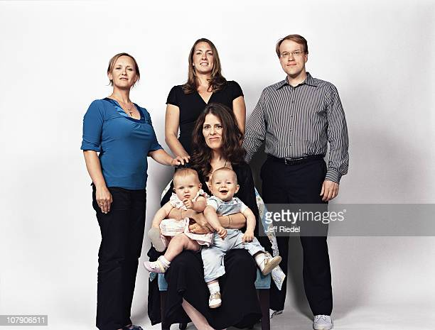 Twiblings Violet Thernstrom Callahan and Kieran Thernstrom Callahan photographed with parents Michael Callahan and Melanie Thernstorm and surrogates...
