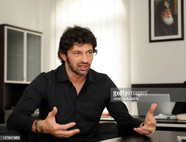 Twice winner of the Champions League with Italy's AC Milan Kakha Kaladze gestures as speaks to the AFP in his office in Tbilisi on June 28 2012...