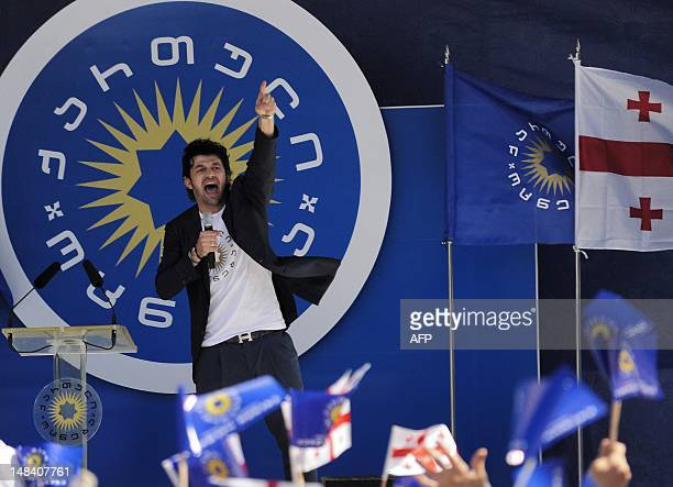 Twice winner of the Champions League with Italy's AC Milan Kakha Kaladze speaks at a rally of the Georgian Dream opposition coalition in Tbilisi on...