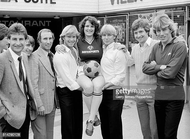Twickenham streaker Erica Roe is welcomed to Villa Park in Birmingham by several members of the Aston Villa first team squad as club announce their...