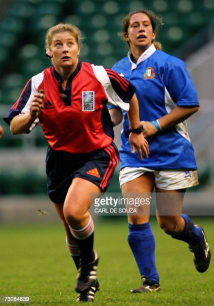 Referee Nicky Inwood from New Zealand runs during the Six Nations women's Rugby Union match between England and Italy at Twickenham Stadium London 10...