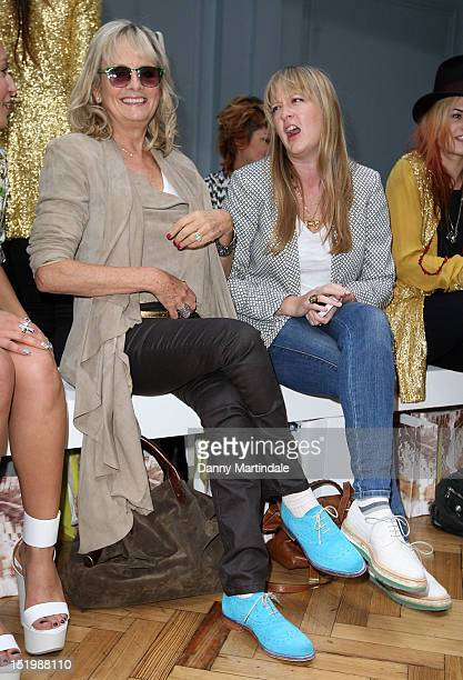 Twiggy and daughter Carly Lawson attends the front row for the Sass Bide show on day 1 of London Fashion Week Spring/Summer 2013 at The Lindley Hall...
