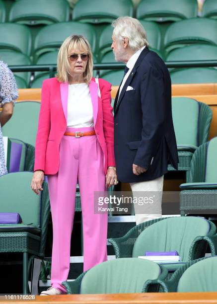 Twiggy and Leigh Lawson attend day nine of the Wimbledon Tennis Championships at All England Lawn Tennis and Croquet Club on July 10 2019 in London...