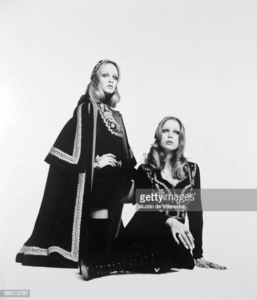 Twiggy and Patti Boyd wearing richly embroidered gowns circa 1972 Taken in Milan for Italian Vogue