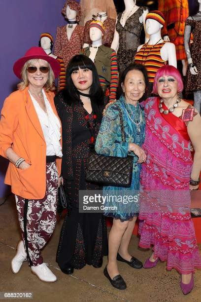 Twiggy Anna Sui Grace Sui Fang and Zandra Rhodes attend the World of Anna Sui Exhibition Private View at the Fashion and Textile Museum on May 25...