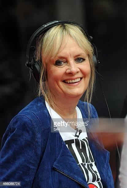 Twiggy at The BBC for Dermot O'Leary's dance marathon in aid of Comic Relief on March 13 2015 in London England