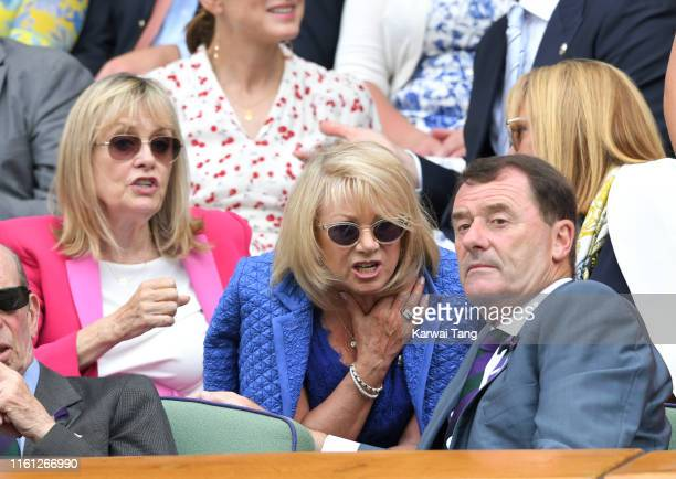 Twiggy Elaine Paige and AELTC Chairman Philip Brook attend day nine of the Wimbledon Tennis Championships at All England Lawn Tennis and Croquet Club...